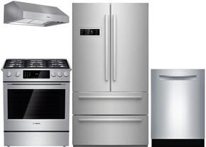 """4-Piece Stainless Steel Kitchen Package with B21CL80SNS 36"""" French Door Refrigerator, HDI8054U 30"""" Slide-In Dual Fuel Range, DPH30652UC 30"""" Under Cabinet Hood, and SGE68U55UC 24"""" Full Console Dishwasher"""