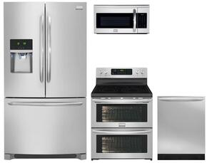 "4-Piece Kitchen Package with FGHF2366PF 36"" French Door Refrigerator, FGEF306TPF 30"" Electric Freestanding Range, FGMV175QF 30"" Over The Range Microwave Oven and FGID2476SF 24"" Built in Dishwasher in Stainless Steel"