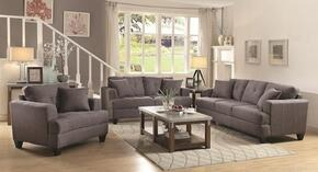 Samuel Sofa Collection 5051753PC 3-Piece Living Room Set with Sofa, Love Seat and Chair in Charcoal Fabric Upholstery