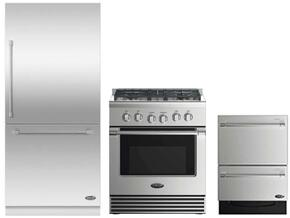 "3 Piece Stainless Steel Kitchen Package With RDV2304L 3O"" Gas Freestanding Range, RS36W80RJC1 36"" Bottom Freezer Refrigerator and DD24DV2T7 24"" Drawers Dishwasher"