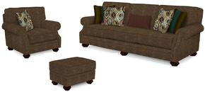 Heuer Collection 4260Q424385SCO 3-Piece Living Room Set with Sofa, Chair and Ottoman in Brown with Walnut Finish
