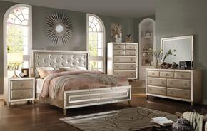 Voeville 21000Q5PC Bedroom Set with Queen Size Bed + Dresser + Mirror + Chest + Nightstand in Antique White Color
