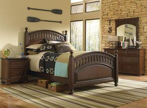 Expedition 84686303101SETB 4 PC Bedroom Set with Twin Size Poster Bed + Dresser + Mirror + Nightstand in Cherry Finish