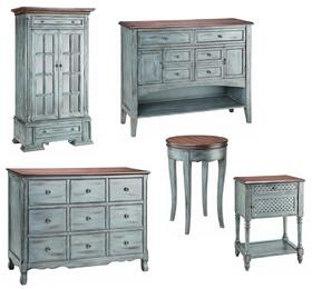 120TCCMA Hartford 5-Piece Set including Tall Cabinet, Cabinet, Chest of Drawers, Side Table and Accent Table in Aged Blue Moonstone Finish
