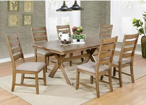Xochil Collection CM3171T6SC 7-Piece Dining Room Set with Rectangular Table and 6 Side Chairs in Weathered Natural Tone Finish
