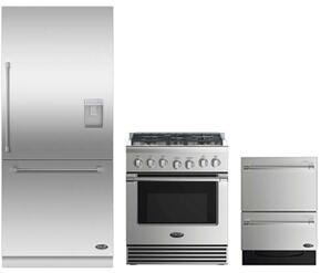 "3 Piece Stainless Steel Kitchen Package With RDV2305N 3O"" Gas Freestanding Range, RS36W80RUC1 36"" Built In Refrigerator and DD24DV2T7 24"" Drawers Dishwasher"