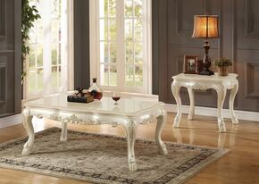 Dresden 83260CE 2 PC Living Room Table Set with Coffee Table + End table in Antique White Finish