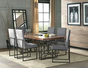 Chancelor Collection 107381CT 7 PC Dining Room Set with Dining Table + 6 Side Chairs in Grey and Walnut Finish