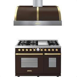 2-Piece Brown Matte with Gold Accent Kitchen Package with RD482SCMG 48