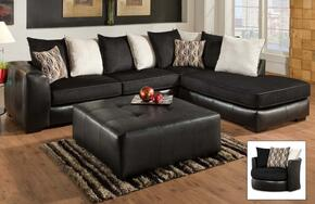 Grant Collection 75E3486167SECHO 3-Piece Living Room Set with Sectional Sofa, Swivel Chair and Ottoman in Ebony