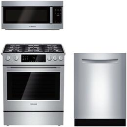"3-Piece Stainless Steel Kitchen Package with HDIP054U 30"" Slide-In Dual Fuel Range, HMVP053U 30"" Over the Range Microwave, and SHP87PW55N 24"" Fully Integrated Dishwasher"