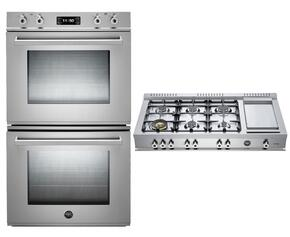 """Professional 2-Piece Stainless Steel Kitchen Package with FD30PROXE 30"""" Double Electric Wall Oven and CB486G00X 48"""" Gas Rangetop"""