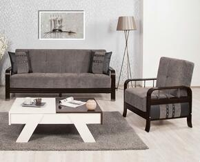 Studio NYC SNSBACFGY Package Containing Convertible Sofa Bed and Convertible Armchair with Wooden Frame, Stainless Steel Accents and Tufted Detailing in Flocket Gray