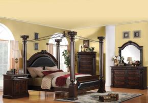 Roman Empire Collection 19340Q4PCSET Bedroom Set with Queen Size Canopy Bed + Dresser + Mirror + Nightstand in Dark Cherry Finish