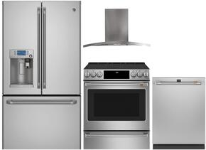 "4-Piece Stainless Steel Kitchen Package with CYE22USHSS 36"" French Door Refrigerator, CHS985SELSS 30"" Slide In Electric Range, PV970NSS 30"" Wall Mount Hood, and CDT835SSJSS 24"" Fully Integrated Dishwasher"