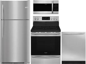 "Gallery 4-Piece Stainless Steel Kitchen Package with FGTR1837TF 30"" Top Freezer Refrigerator, FGEF3036TF 30"" Freestanding Electric Range, FGID2466QF 24"" Fully Integrated Dishwasher and FGMV176NTF 30"" Over-the-Range Microwave"