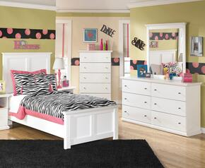 Bostwick Shoals Twin Bedroom Set with Panel Bed, Dresser, Mirror in White