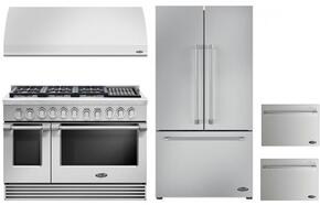 "4 Piece Kitchen Package With RGV2486GLL 48"" Gas Freestanding Range, VS48 48"" Wall Mount Hood, RF201ACJSX1 36"" French Door Refrigerator and two DD24SV2T7 24"" Dishwasher Drawers in Stainless Steel"