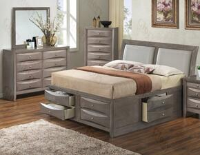 G1505IQSB4DM 3 Piece Set including Queen Size Bed, Dresser and Mirror in Gray