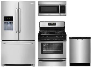 "4-Piece Kitchen Package with FFHB2740PS 36"" French Door Refrigerator, FFGF3023LS 30"" Gas Freestanding Range, FGCD2444SF"