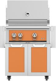 "30"" Natural Gas Grill with GCD30TQ Tower Grill Cart with Two Doors, in Citra Orange"