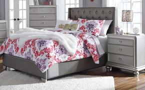 Coralayne Collection Full Bedroom Set with Panel Bed and Nightstand in Gray