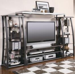"700681 TV Stand for Screen Sizes up to 60"" + 2 Media Towers + Bridge Unit in Black and Silver"