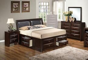 G1525ITSB4DMN 4 Piece Set including Twin Size Bed, Dresser, Mirror and Nightstand in Cappuccino