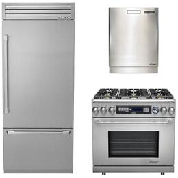 """3-Piece Stainless Steel Kitchen Package with DYF36BFTSR 36"""" Bottom Freezer Refrigerator, ER36DCLP 36"""" Dual Fuel Range, and a free RDW24S 24"""" Built In Fully Integrated Dishwasher"""
