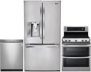 "3-Piece Stainless Steel Kitchen Package with LFXC24726S 36"" French Door Refrigerator, LDE4415ST 30"" Freestanding Double Oven Electric Range and LDF7774ST 24"" Fully-Integrated Dishwasher"