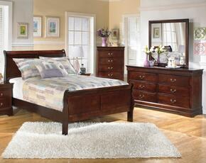 Huerta Collection Full Bedroom Set with Sleigh Bed, Dresser and Mirror in Dark Brown