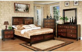 Patra Collection CM7152QBDMCN 5-Piece Bedroom Set with Queen Bed, Dresser, Mirror, Chest, and Nightstand in Acacia and Walnut Finish
