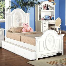 01680TBTDC Flora 4 PC Set Twin Size Panel Bed + Trundle + Student Desk + Student Chair in White Finish