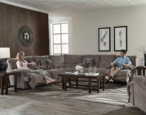 Jules Collection 2201-8-9-1724-18/2860-18 3-Piece Sectional with Reclining Sofa, Wedge and Reclining Console Loveseat in Pewter and Pillows in Phantom