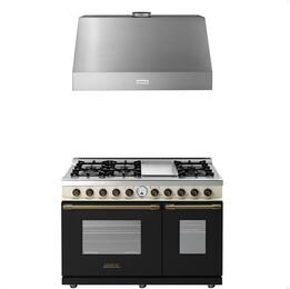 2-Piece Black and Cream Matte with Bronze Accent Kitchen Package with RD482SCNCB 48