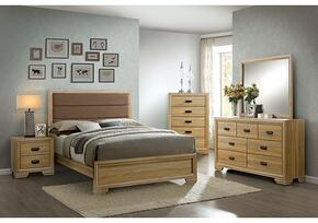 Renee Collection CM7660QBDMCN 5-Piece Bedroom Set with Queen Bed, Dresser, Mirror, Chest, and Nightstand in Dark Natural Finish