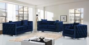 Reese Collection 648-NAVY-S-L-C 3 Piece Living Room Set with Sofa + Loveseat and Chair in Navy