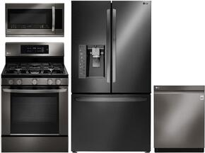 "4-Piece Kitchen Package with LFXS30766D 36"" French Door Refrigerator, LRG3061BD 30"" Freestanding Gas Range, LMHM2237BD 30"" Over the Range Microwave, and LDP6797BD 24"" Built In Fully Integrated Dishwasher in Black Stainless Steel"