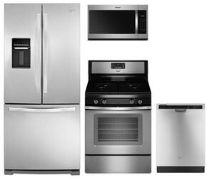"4-Piece Kitchen Package with WRF560SEYM 30"" French Door Refrigerator, WFG515S0ES 30"" Gas Freestanding Range, WMH31017HS 30"" Over the Range Microwave Oven and WDF540PADM 24"" Built In Dishwasher in Stainless Steel"