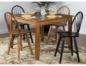 Sedona Collection 1366RODT2BC2ROC 5-Piece Dining Room Set with Dining Table, 2 Black Chairs and 2 Rustic Oak Chairs in Rustic Oak Finish