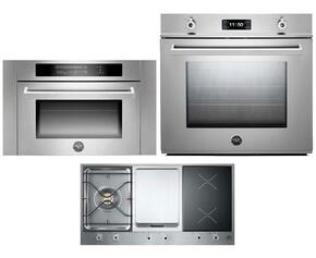"Professional F30PROXT 30"" Single Electric Wall Oven 3 Piece Stainless Steel Kitchen Package with PM361IGX 36"" Electric/Gas Cooktop and SO24PROX Built In Microwave"