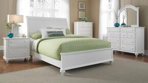 Hayden Place Collection 5 Piece Bedroom Set With King Size Sleigh Bed + 2 Nightstands + Dresser + Mirror: White
