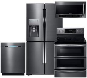 "4-Piece Black Stainless Steel Kitchen Package with RF23J9011SG 36"" 4-Door French Door Refrigerator, NE59J7850WG 30"" Electric Double Oven Range, DW80J7550UG 24"" Fully Integrated Dishwasher and ME21H706MQG 30"" Over the Range Microwave"