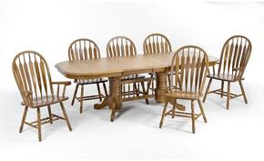 Classic Oak CO-TA-I4296247-CNT-C Dining Room  Solid Oak Trestle Table and 6 Chairs with Destressed Detailing in Chestnut Finish