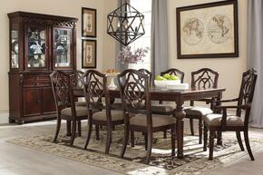 Asha Collection 11-Piece Dining Room Set with Dining Room Table, 6 Side Chairs, 2 Arm Chairs, Buffet and Hutch in Reddish Brown