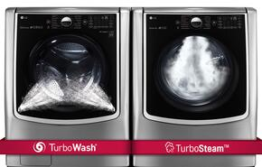 "TwinWash Graphite Steel Front Load Laundry Pair with WM9000HVA 29"" Washer with and DLGX9001V 29"" Gas Dryer"