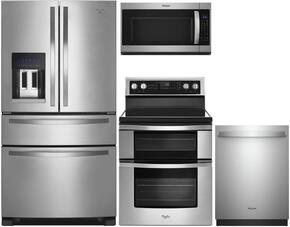"4-Piece Stainless Steel Kitchen Package with WRX735SDBM 36"" French Door Refrigerator, WGE745C0FS 30"" Freestanding Electric Range, WMH53520CS 30"" Over the Range Microwave, and WDT730PAHZ 24"" Fully Integrated Dishwasher"