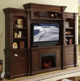 ZG-B1960-FBBB Berkshire Fireplace Entertainment Center with Fire Console, Two Bookcases, Back Panel and Bridge, in Old World Umber