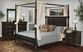 00222WCBDMNC Martinique 5 Piece Canopy Bedroom Set with California King Bed, Dresser, Mirror, Nightstand and Chest, in Rubbed Black
