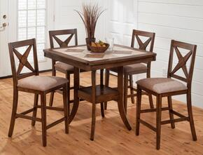 "794-40SET5 Tucson 40"" Square Counter Height Table, Cermic Tile and 4 X Back Upholstered Stools"